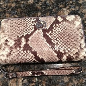 Michael Kors leather reptile print wristlet